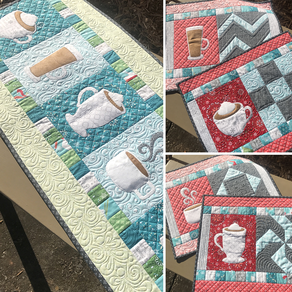 And More Aqua In Fa La Latte Which Is A Pattern For Placemats Runner Or Bed Pillow