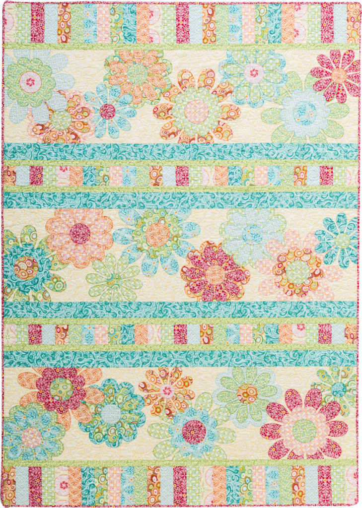 """Flora"" feminine birthday quilt front"