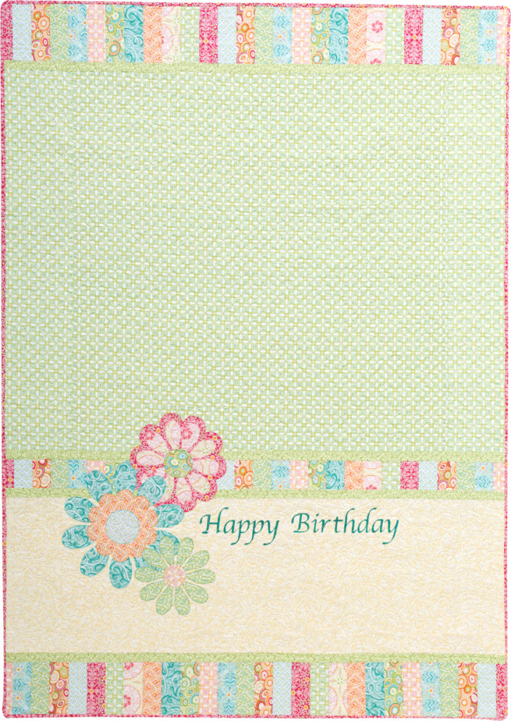 """Flora"" feminine birthday quilt back"